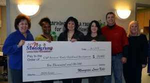 Monogram presents check to CAP staff at CDC