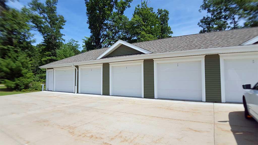 River Wood garage row exterior