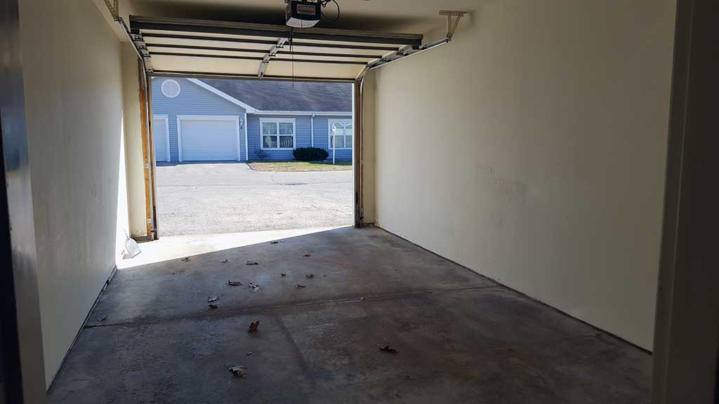 Wolf River SV looking out open garage from inside